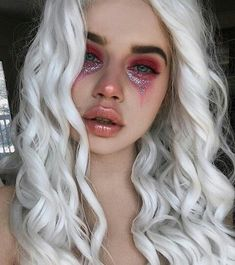 Glitter tears, pink monochromatic makeup