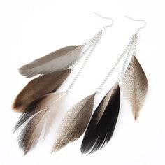 Real Long Feather Drop Earrings (black, brown, blue, red) //Price: $7.84 & FREE Shipping //     #christmasearrings