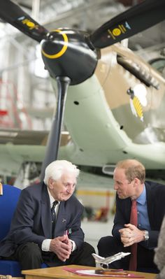 Idailymail: The Duke of Cambridge attended an event to mark the 75th anniversary of the Battle of Britain, RAF Coningsby, Lincolnshire September 22, 2015-the Duke speaks with 97-year-old RAF pilot and Battle of Britain veteran Ken Wilkinson