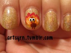Turkey, Thanksgiving Nail Art check out www.MyNailPolishObsession.com for more nail art ideas.