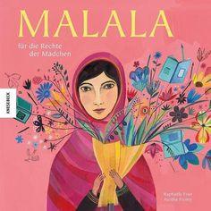 Schon mit 11 Jahren stand die mutige Pakistanerin Malala gegen die Taliban auf, die ihre Mädchenschule schließen wollten. 2012 erlangte sie internationale Aufmerksamkeit, als sie den Hinrichtungsversuch durch die Taliban schwer verletzt überlebte. Seitdem setzt sie sich für die Rechte der Kinder, insbesondere das Recht der Mädchen auf Bildung, ein. 2014 erhielt sie für ihr Engagement mit 17 Jahren den Friedensnobelpreis. Dieses Sachbuch für Kinder erzählt ihre bewegende Geschichte. Kids Corner, Book Girl, Childrens Books, Illustration, Blog, Anime, Movie Posters, Pictures, Kitty