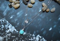 A-129 Hand stamped personalized initial leaf with turquoise drop, Double strand, Layered necklace, Rhodium plated/Everyday jewelry/