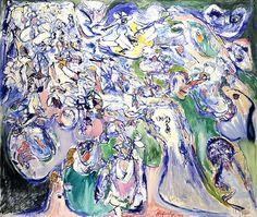 Pierre Alechinsky Alice grandit, 1961, huile sur toile, 205 x 245 cm, collection particulièr