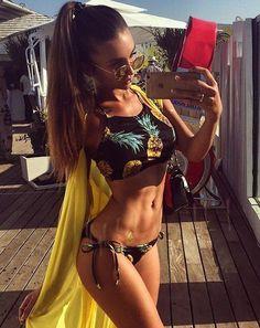 Push Up Bikini Brazilian Sexy Fluorescent yellow stripe Beach Swimwear