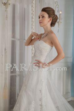 vestidos de novia satén Tul Blanco Corazón Tren Flors Cremallera VainaSin Mangas
