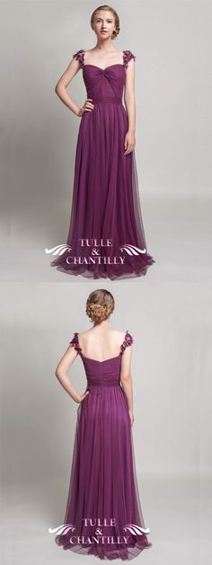 fall eggplant sweetheart tulle bridesmaid dress with floral straps