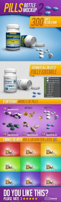 Medicine, Tablets, and Pills Bottle Mockup by Nobic Medicine Bottle Mockup This is a mockup for a vitamins or medicine bottle, is a perfect solution to show your product, Includes 6