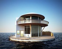 Floating Circular Small House with Wrap Around Deck - Tiny House Pins Amazing Architecture, Architecture Design, Floating Architecture, Creative Architecture, Design Exterior, Interior Design, Interior Ideas, Modern Interior, Interior Decorating