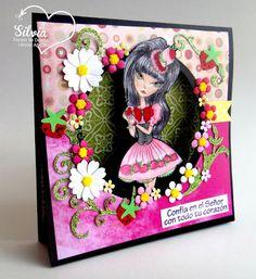 Silvia Scrap: Tutorial # 42 en Latinas Arts And Crafts: Tent Card Digi: digi Lucy Loo Strawberry Shortcake Lolita de  The East Wind