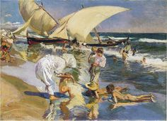 Valencia beach in the morning light | Joaquin Sorolla y Bastida | oil painting