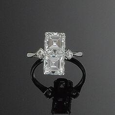 An art deco diamond two-stone ring,