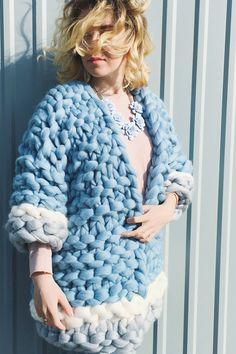 Super Chunky Merino Wool Coat Wool Cardigan Sky by YourYarnUa Blue Cardigan, Wool Cardigan, Stitch Fit, Big Knits, Chunky Wool, Winter Hats For Women, Collar Pattern, Wool Coat, Fur Coat