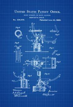 1880 Dentist Chair Patent - Patent Print, Wall Decor, Dentist Office Decor, Medical Art, Dental Art