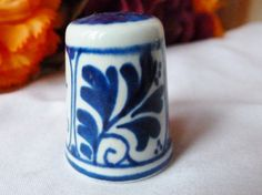 Vintage Thimble Flow blue DELFT Handcrafted Leaves by vintagelady7, $10.00