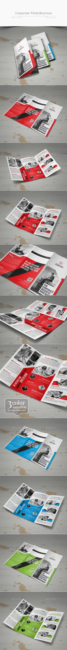 Corporate Trifold Brochure Design Template - Corporate Brochures Design Template PSD. Download here: https://graphicriver.net/item/trifold-brochure/19445992?ref=yinkira