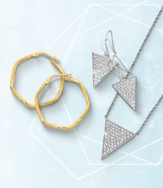 Let your style take shape with fun and contemporary geometric jewelry! Stock up today! #QualityGold #GeometricJewelry #TriangleJewelry #ContemporaryJewelry #ModernJewelry #Jewelry #JewelryTrends #CZJewelry #HexagonHoopEarrings