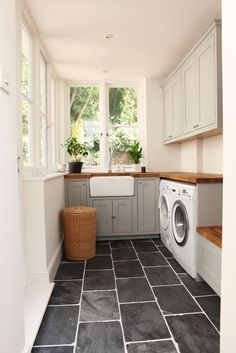 mudroom with grey cabinets | House Like This - mudroom, laundry, grey cabinets, butcher block ...