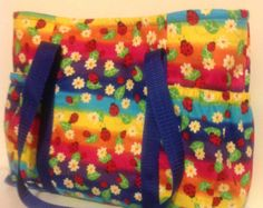 Lady bug and rainbow spring time tote with 4 pockets// Easter purse // great gift for her, gift for lady bug lovers