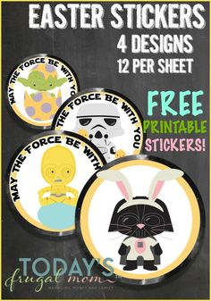 Free Printable Star Wars Stickers for Easter