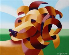 Mark Webster - Futurist Lion in the Savannah Painting., painting by artist Mark Adam Webster