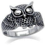 Wise Owl 925 Sterling Silver Ring Size 10 -
