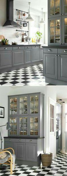 New Kitchen Grey Cabinets Ikea Cupboards Ideas Grey Kitchen Cabinets, Kitchen Redo, Kitchen Flooring, Kitchen Remodel, Grey Cupboards, Kitchen Ideas, White Cabinets, Kitchen Black, Kitchen Shelves
