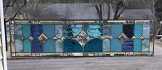 Large Transom Stained Glass Window Panel w/Bevels – Blue/Turquoise Tones, apprx size x AVAILABLE NOW - shipping crates Stained Glass Panels, Stained Glass Art, Mosaic Glass, Mosaic Mirrors, Mosaic Wall, Fused Glass, Transom Window Treatments, Transom Windows, Vintage Wood Crates