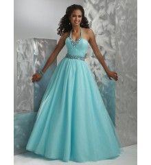 Ball Gown Halter Top Beaded Satin Tulle Long Light Sky Blue Holiday Dress