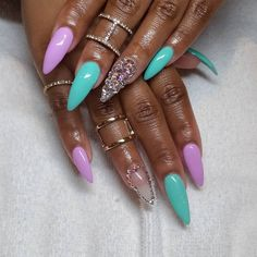Mint and Purple Nail with Bling