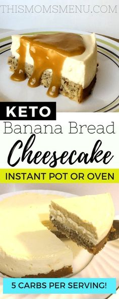 This banana bread bottom cheesecake is such a decadent dessert that you wont believe it has less then 5 net carbs per slice! This banana bread bottom cheesecake is such a decadent dessert that you wont believe it has less then 5 net carbs per slice! Low Carb Sweets, Low Carb Desserts, Low Carb Recipes, Easy Recipes, Diet Recipes, Recipies, Carb Free Deserts, Diabetes Recipes, Healthier Desserts
