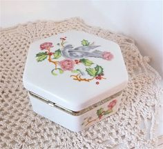 VINTAGE AVON PORCELAIN Box Hexagon with Dove and by TimeWarpVntg, $10.00
