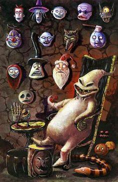 Nightmare Before Christmas by Matthew Kirscht. Arte Tim Burton, Tim Burton Style, Tim Burton Characters, Tim Burton Films, Arte Disney, Disney Art, Halloween Wallpaper, Christmas Wallpaper, Halloween Town