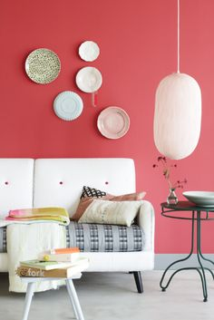 Esther Jostmeijer I love the idea of a pink accent wall with plates on it in esp. the dining room