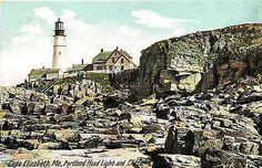 Portland Maine ME 1912 Portland Headlight Lighthouse Cliffs Vintage Postcard Cape Elizabeth Maine ME Circa 1915 Portland Head Light, Lighthouse and cliffs. Unused Hugh C. Leighton collectible antique                                                                                                                                                                                  More
