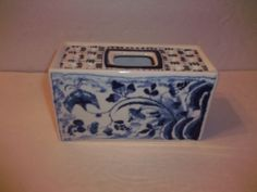 Unique Rectangular Portugal Flow Blue & White Bulb Forcing Vase Crocus Dish MMA in Pottery & Glass, Pottery & China, China & Dinnerware, Mottahedeh | eBay