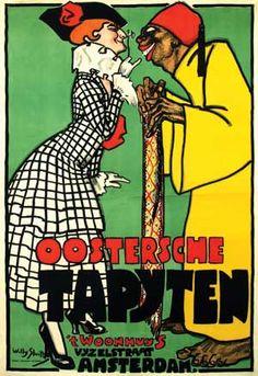 Willy Sluiter (1873-1949) Oostersche Tapijten 't Woonhuis Vijzelstraat Amsterdam 100,5x146, 1916