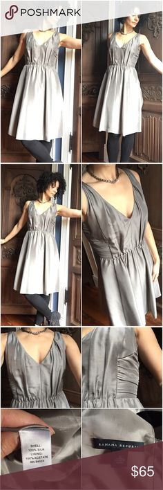 "🍒Banana Republic Silver-Gray Silk Dress Selling for a friend, likely from BR's bridesmaid collection but it's a style and color that's pretty versatile. Would be great for a cocktail party or the upcoming holiday season. It's a little snug on me as I'm usually a 4 in dresses. I'm 5'7"" for height reference. In excellent shape! Banana Republic Dresses Mini"
