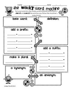 Vocabulary Monsters {Vocabulary Graphic Organizers} - students have to manipulate the word to make plural or add affix - great for high ability learners. Teaching Vocabulary, Vocabulary Activities, Teaching Writing, Vocabulary Words, Math Games, Vocabulary Graphic Organizer, Graphic Organizers, Word Study, Word Work