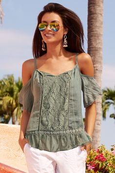 Sexy Shoulders | Women's Olive Crochet Front Cold-Shoulder Blouse by Boston Proper.