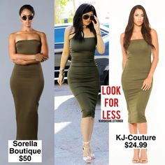 """LOOK FOR LESS! --- Get #KylieJenner's Sorella Boutique ""Soldier"" Dress (retails for $50) for less from @kj_couture_ ""KUWTK Strapless Bodycon"" Dress, which…"""