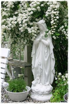 "Mary, ""Mother Most Pure"" under a bower of white climbing hydrangeas."