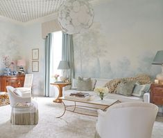 Interior designer Rivers Spencer used Susan Harter Muralpapers to create this ethereal backdrop for her home. The misty painted landscape shown here is called Barringtons Mist. Scenic Wallpaper, Tree Wallpaper, Living Room Murals, Living Rooms, Bright Walls, Interior Design Services, Design Firms, Home Decor Items, Great Rooms