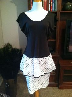 Vintage Mixed Media Black and White Polka Dot Tiered Bubble Dress