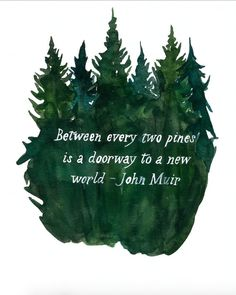 """Title: A Doorway to A New World 8x10 & 11x14 Watercolor Painting featuring John Muir Quote """"Between every two pines is a doorway to a new world."""" More"""