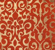 Custom Curtains with Burnt Orange / Gold Damask Pattern One Panel with lining Custom sizes available