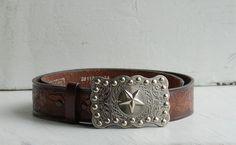 Vintage Leather BELT & STAR Buckle 1980's