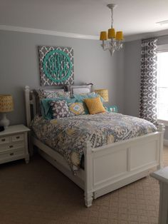 Ana Paisley Bedding from PBteen. Lamps from Target. Custom drapes. Girls teen or tween room.