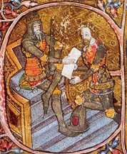 King Edward III (1327-1377). House of Plantagenet. 17th great-grandfather of QEII. Reign: 50 yrs, 4 mos, 25 days. Succeeded by grandson, Richard II. In 1330 he had his mother, Isabella imprisoned for life. 1337 began the 100 Years' War with France. Created the Order of the Garter in 1344. In 1350 bubonic plague kills 1/3 of England's population. Improved the monarchy after his father's chaotic reign. Edward III died of a stroke at 64 years old.