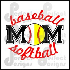 Baseball Softball Mom Graphic Design Art Player Silhouette Cricut Cameo Scan N Cut File - eps dxf svg jpg jpeg Softball Mom Shirts, Softball Cheers, Softball Crafts, Softball Bows, Volleyball Mom, Baseball Mom, Softball Stuff, Baseball Stuff, Softball Pitching