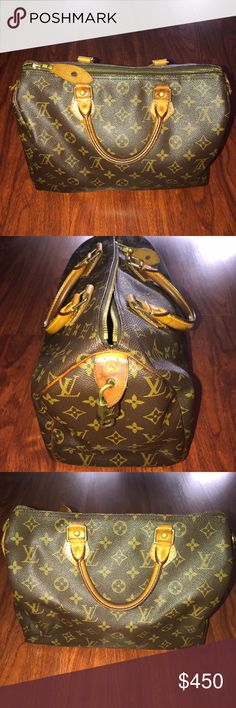 LOUIS VUITTON Monogram Speedy Bag AUTHENTIC Louis Vuitton Monogram LV Speedy Bag 💼 Re-poshing this gorgeous bag because I am getting married and need the $ and also need to free up space in my closet. I purchased this bag on Poshmark and so am not the first owner. Authentication Code pictured. Blemishes + natural wear from usage are pictured. Comes with Lock + Key 🔐 Louis Vuitton Bags